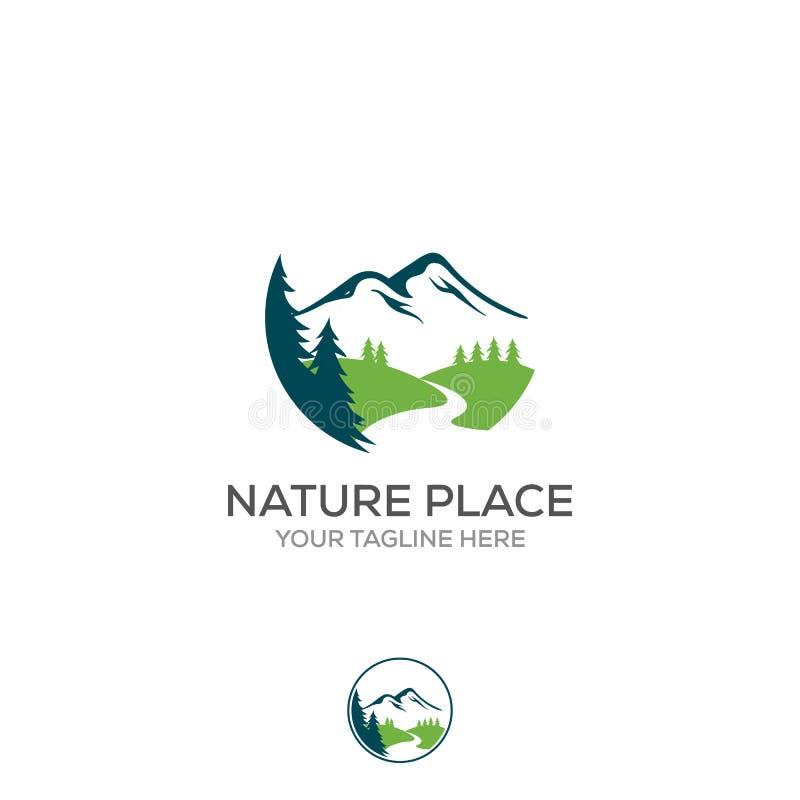 Logo della montagna, progettazione elegante di logo di vettore della montagna ed insenature o fiumi royalty illustrazione gratis