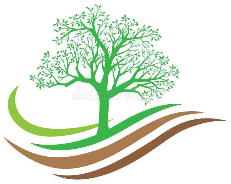 Logo della natura dell'albero illustrazione di stock