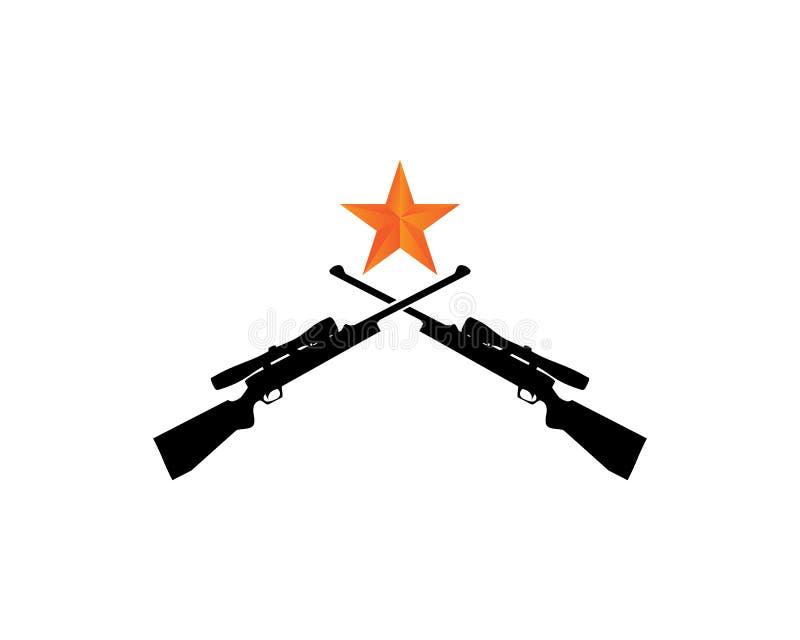 logo della pistola ed il nero del pericolo dell'esercito di progettazione illustrazione vettoriale
