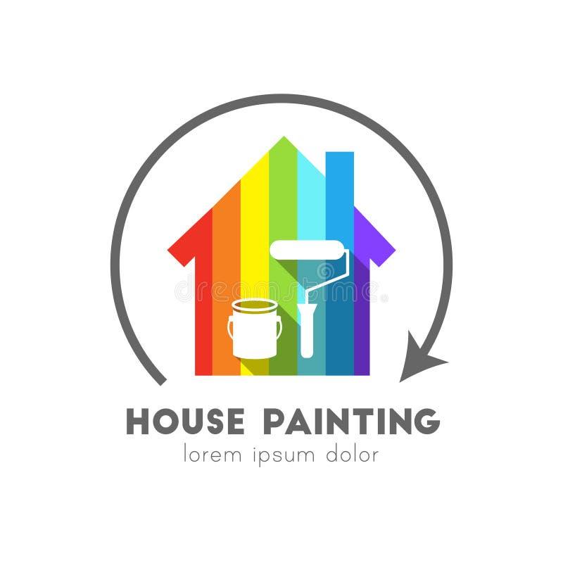 Logo della pittura per uso interno con la casa variopinta royalty illustrazione gratis