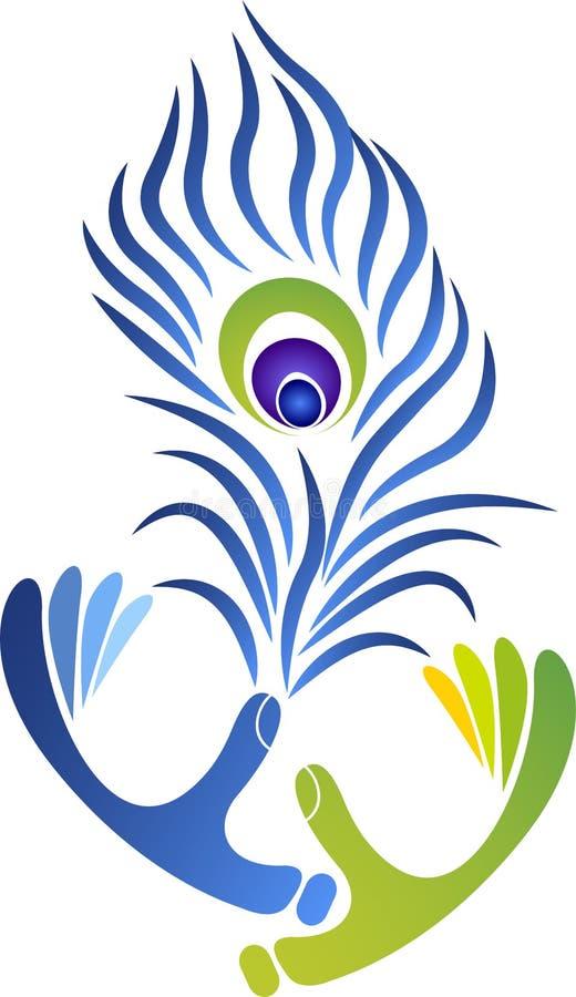 Logo della piuma delle mani illustrazione vettoriale