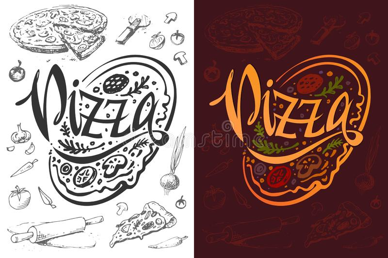Logo della pizza o progettazione del manifesto dell'alimento Modello di vettore royalty illustrazione gratis
