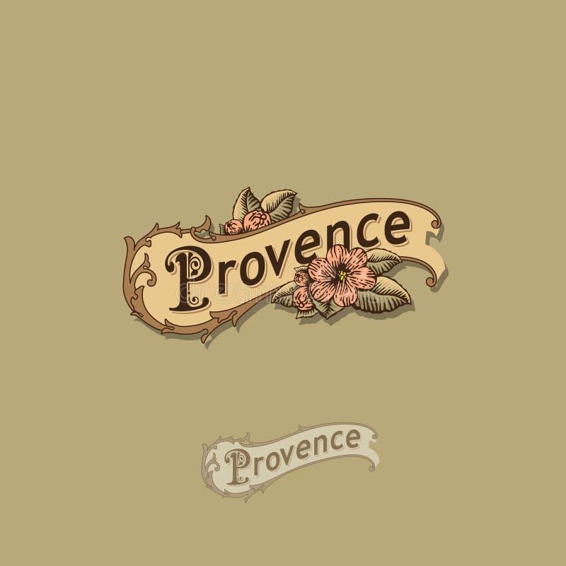 Logo della Provenza Logo d'annata sotto forma di rotolo con i fiori Alimento o emblema floristico illustrazione di stock