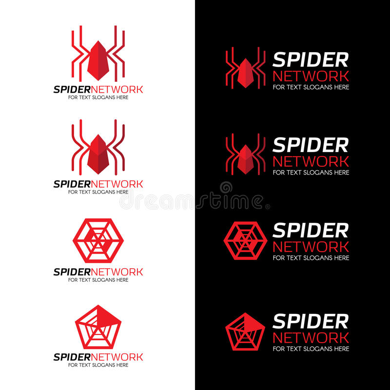 Logo della rete del ragno rosso su fondo bianco e nero illustrazione vettoriale