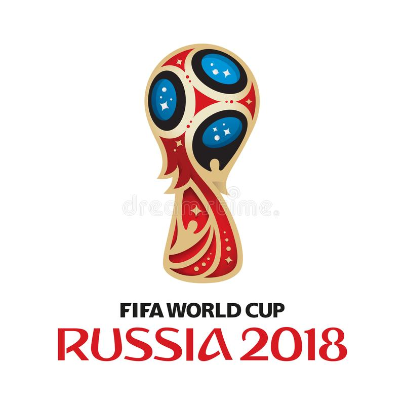 Logo 2018 della Russia della coppa del Mondo della FIFA su fondo bianco fotografia stock libera da diritti