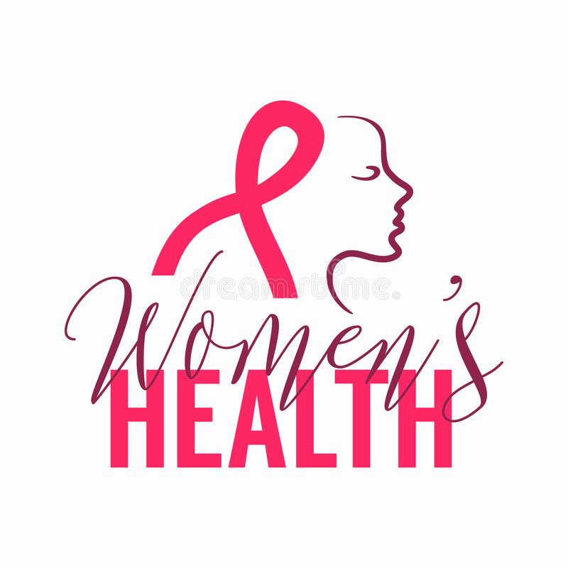 Logo della salute delle donne con il segno del nastro ed il fronte rosa della donna illustrazione di stock