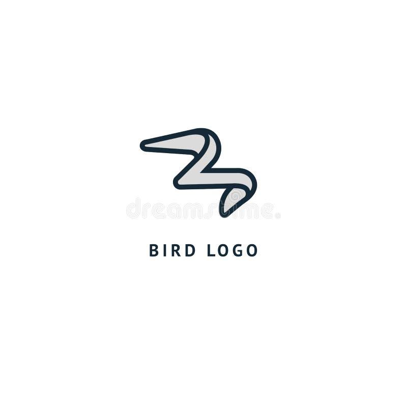 Logo della siluetta dell'uccello Gallinacei minimalistic astratti di volo dell'illustrazione di vettore Icona del gabbiano Zoo, n illustrazione di stock
