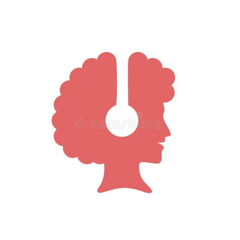 Logo della siluetta di una musica e di un sorridere d'ascolto d'uso della cuffia avricolare della donna di afro illustrazione vettoriale