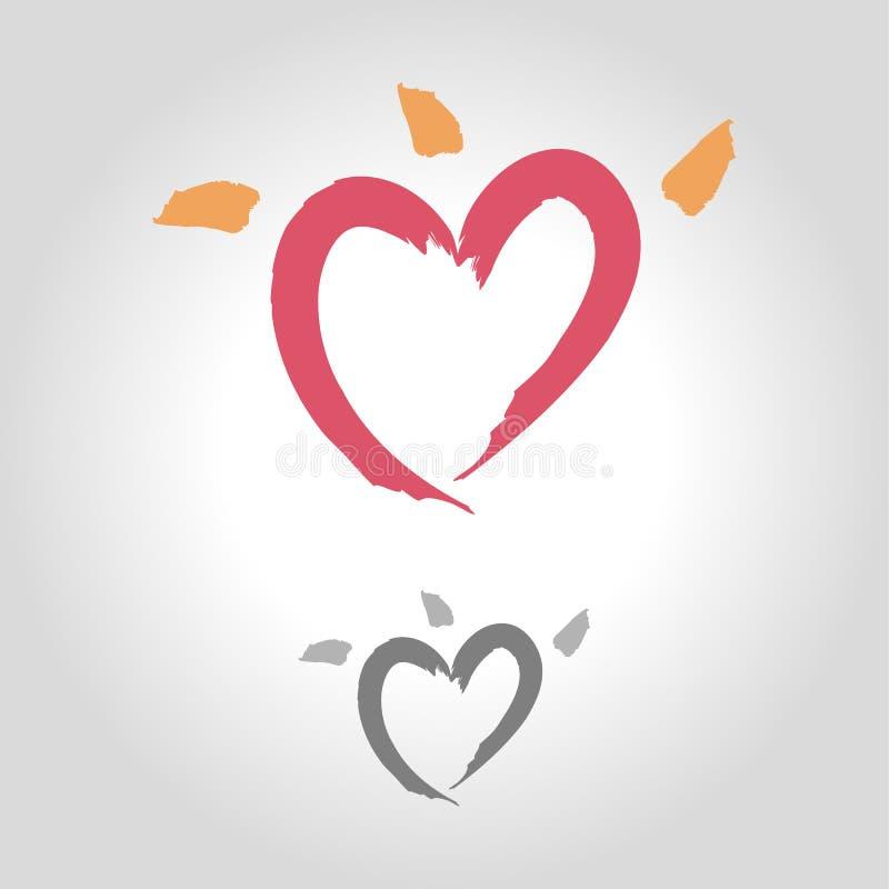Logo della spazzola del cuore illustrazione di stock