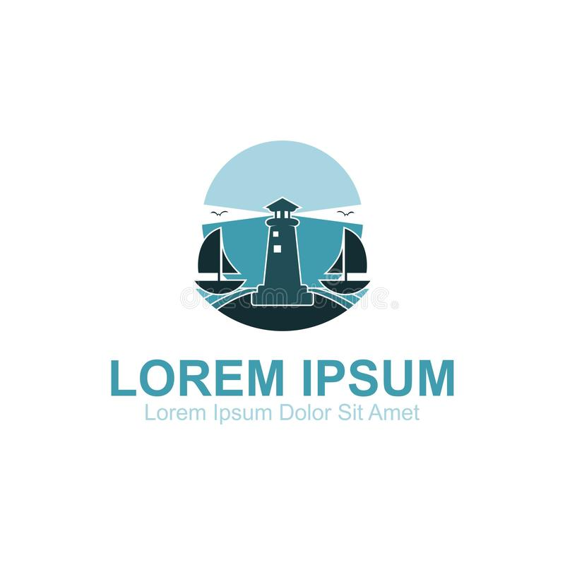 Logo della spiaggia di notte del faro illustrazione di stock