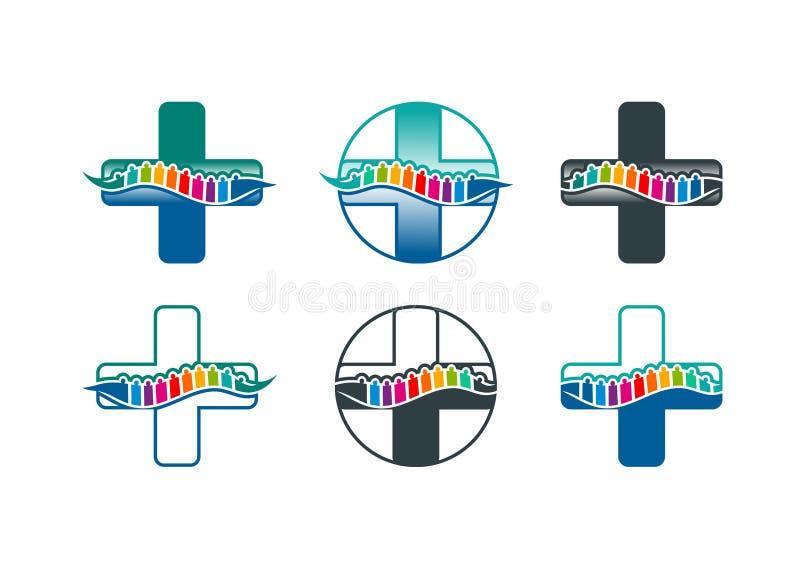 Logo della spina dorsale, simbolo della spina dorsale e progettazione di massima di chiroterapia illustrazione vettoriale