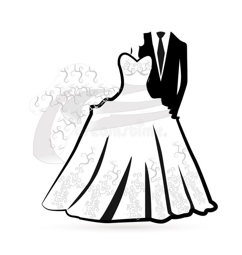Logo della sposa e dello sposo del vestito da sposa illustrazione vettoriale