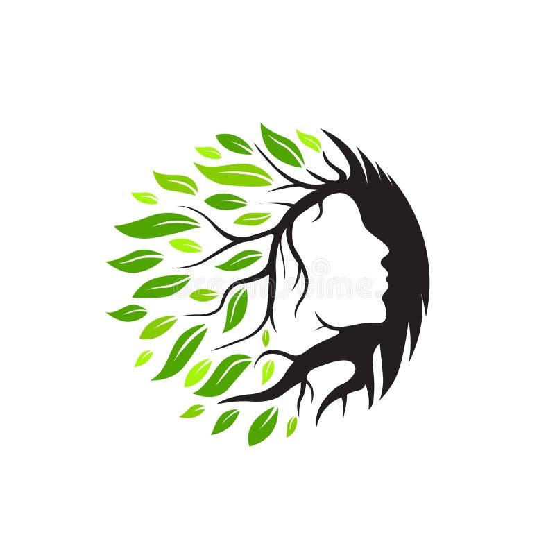 Logo della stazione termale, di yoga e di bellezza con l'albero ed il vettore di concetto delle foglie royalty illustrazione gratis