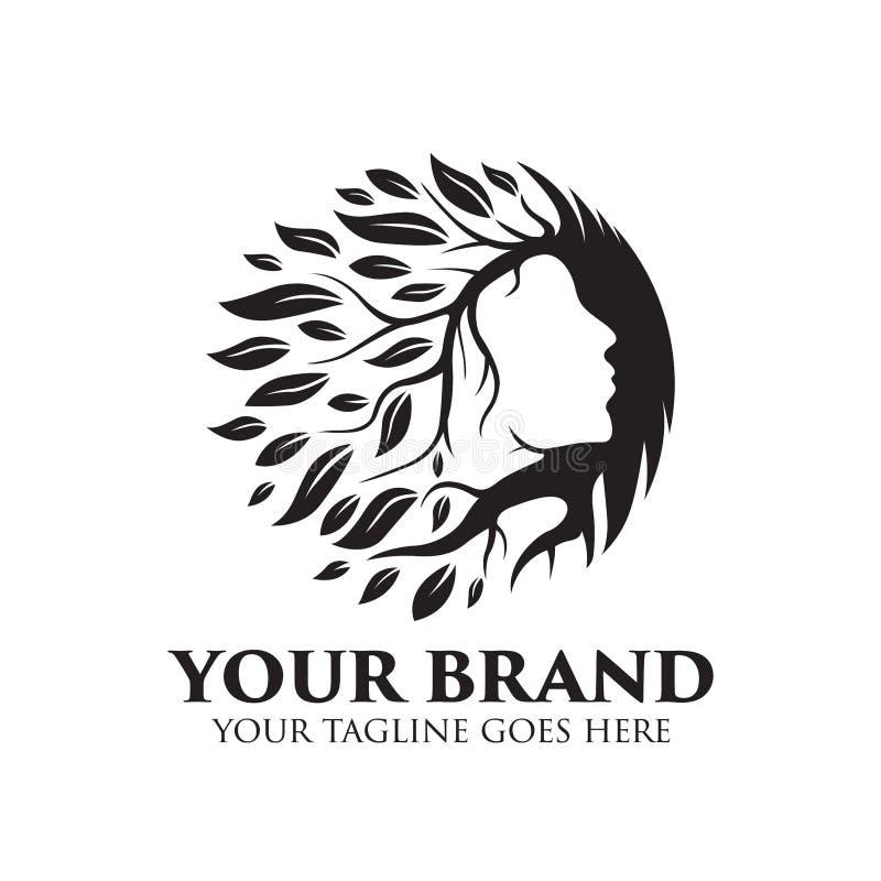 Logo della stazione termale, di yoga e di bellezza con l'albero ed il vettore di concetto delle foglie illustrazione di stock