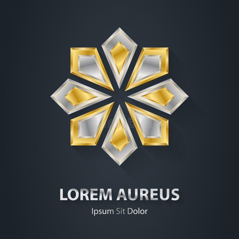 Logo della stella d'oro e dell'argento Icona del premio 3d Impiegati metallici del logotype royalty illustrazione gratis