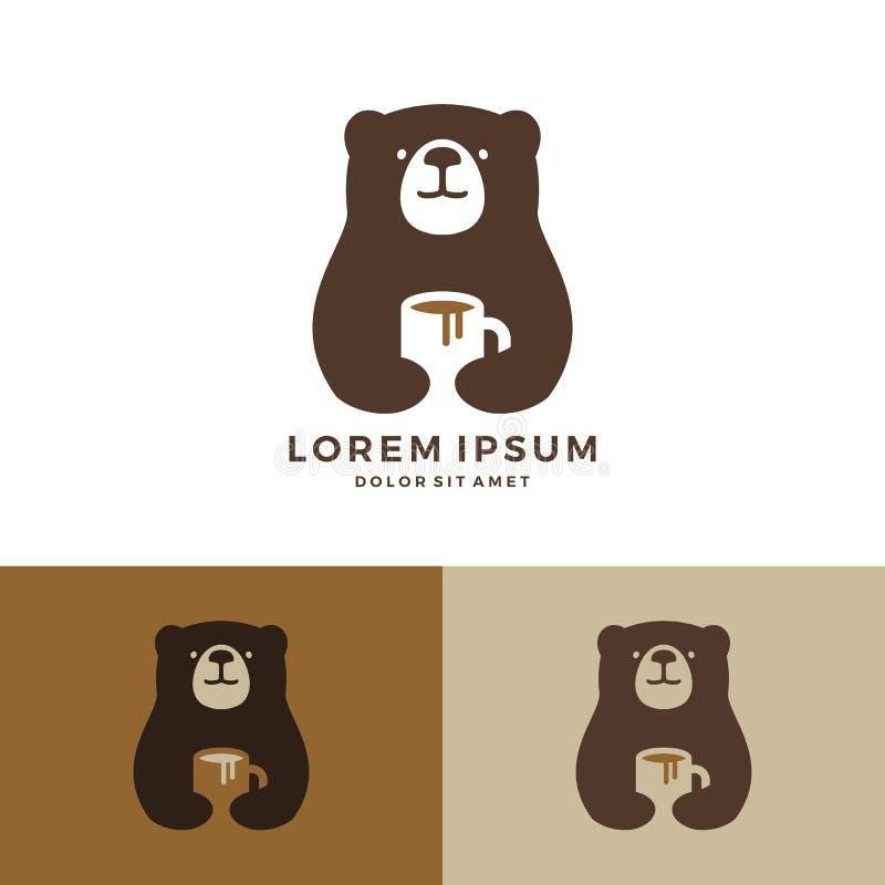 logo della tazza della tenuta di logo dell'orso del caffè illustrazione di stock