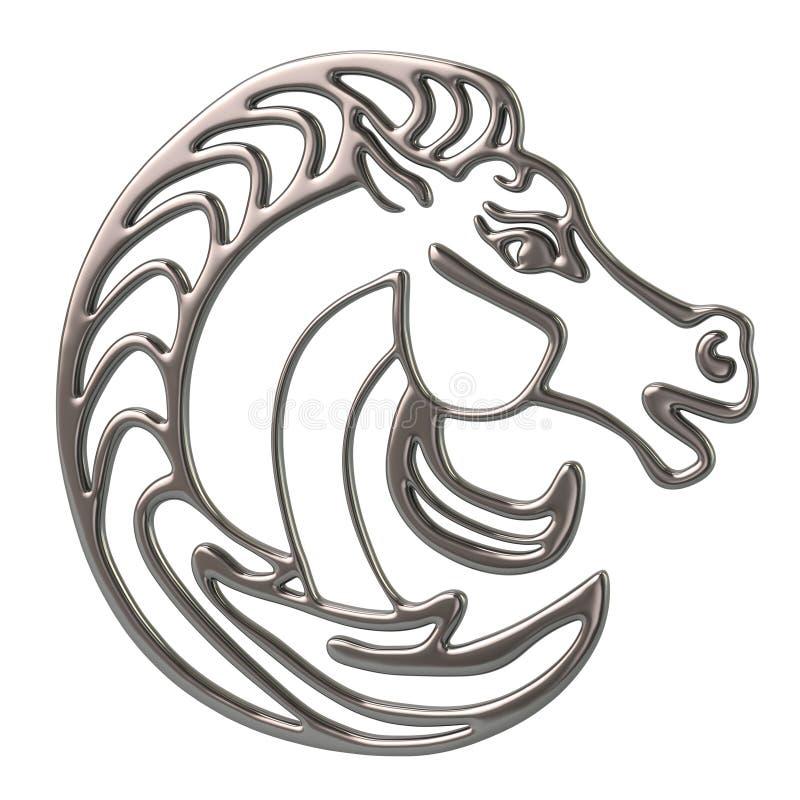 logo della testa di cavallo del metallo dell'argento dell'illustrazione 3d illustrazione vettoriale