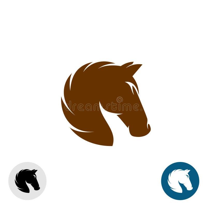 Logo della testa di cavallo Una siluetta elegante semplice di colore illustrazione di stock