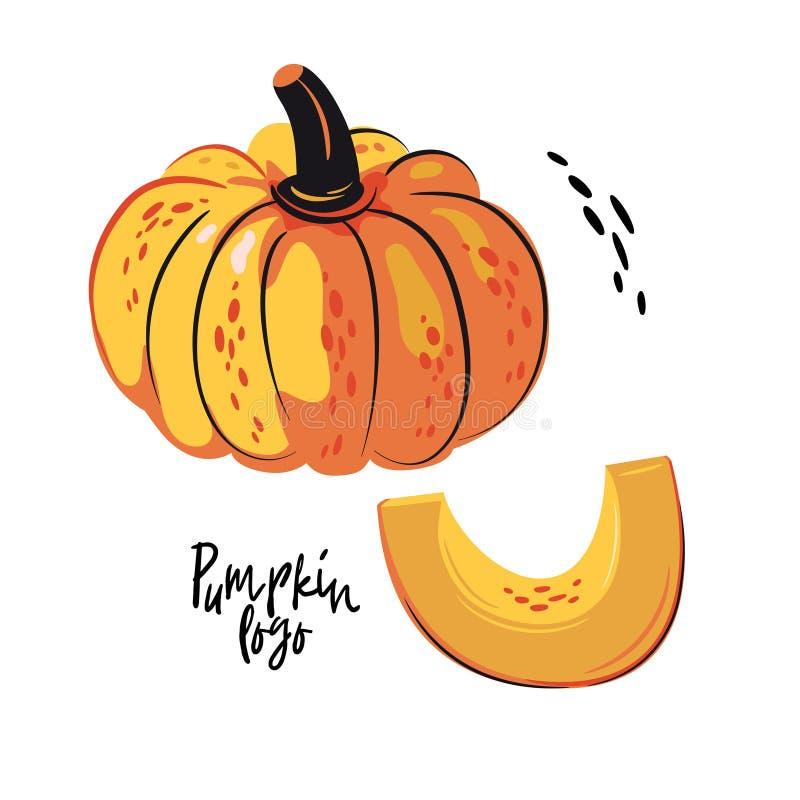 Logo della zucca Intera zucca matura e una fetta royalty illustrazione gratis