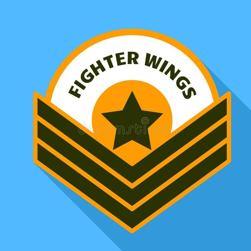 Logo delle ali del combattente dell'aria, stile piano illustrazione di stock
