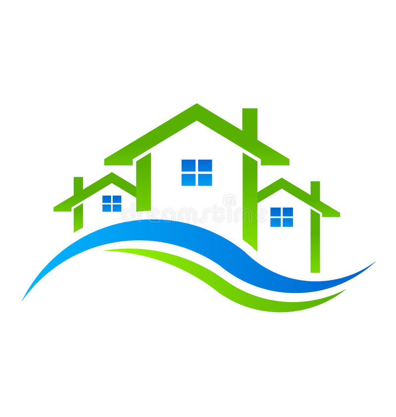 Real Estate alloggia il logo illustrazione di stock