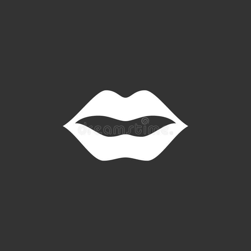 Logo delle labbra Icona di vettore su fondo nero fotografia stock libera da diritti