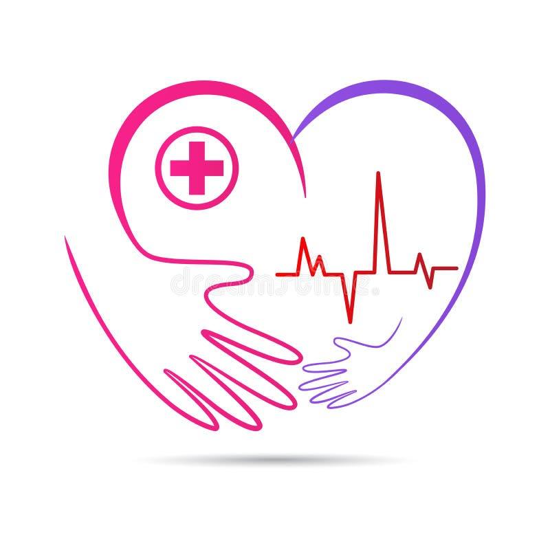 Logo delle mani di benessere di cura del cuore della gente illustrazione di stock