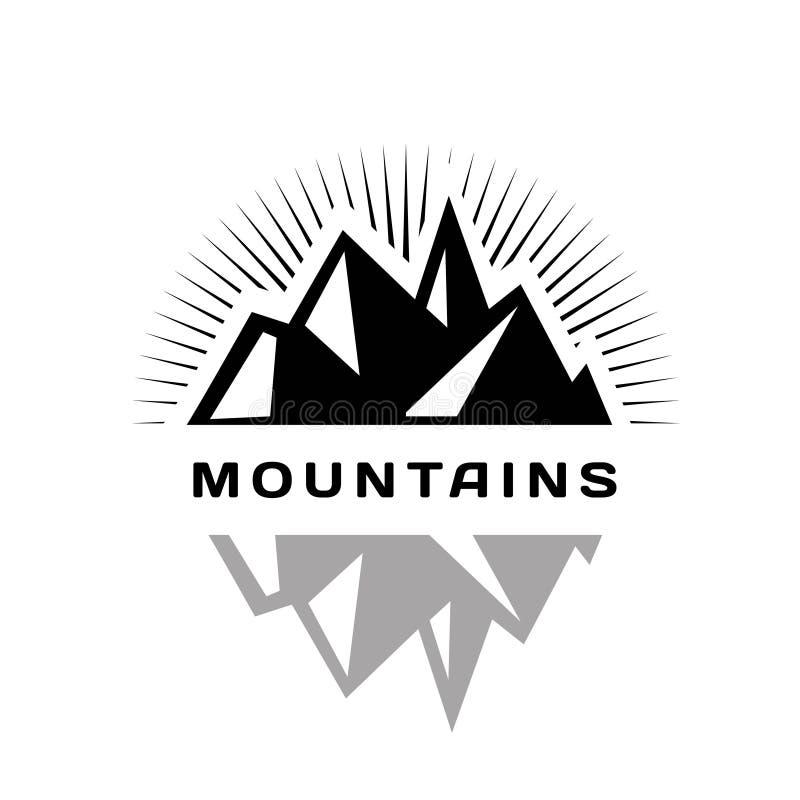 Logo delle montagne per una ditta, una società o una società illustrazione di stock