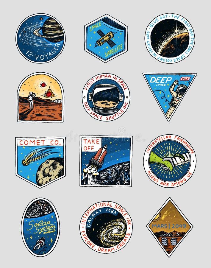 Logo dello spazio Esplorazione della galassia astronomica Missione Marte Avventura dell'astronauta o dell'astronauta Pianeti e illustrazione di stock