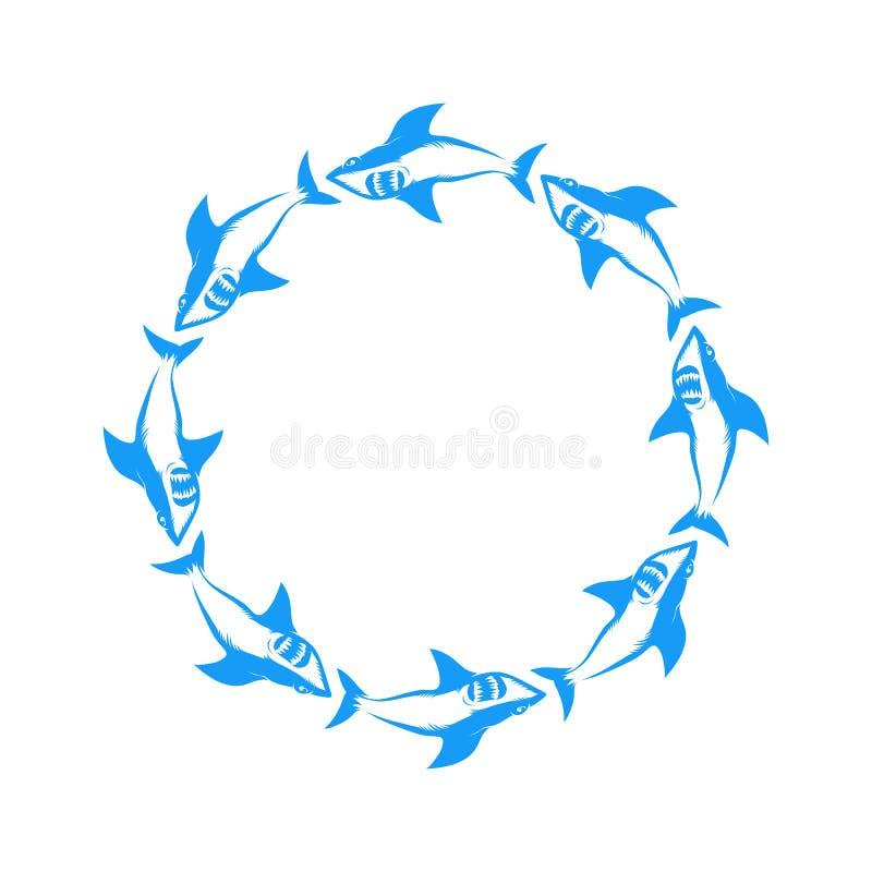 Logo dello squalo blu isolato sullo sfondo bianco Icona Animale Di Pesce immagine stock libera da diritti