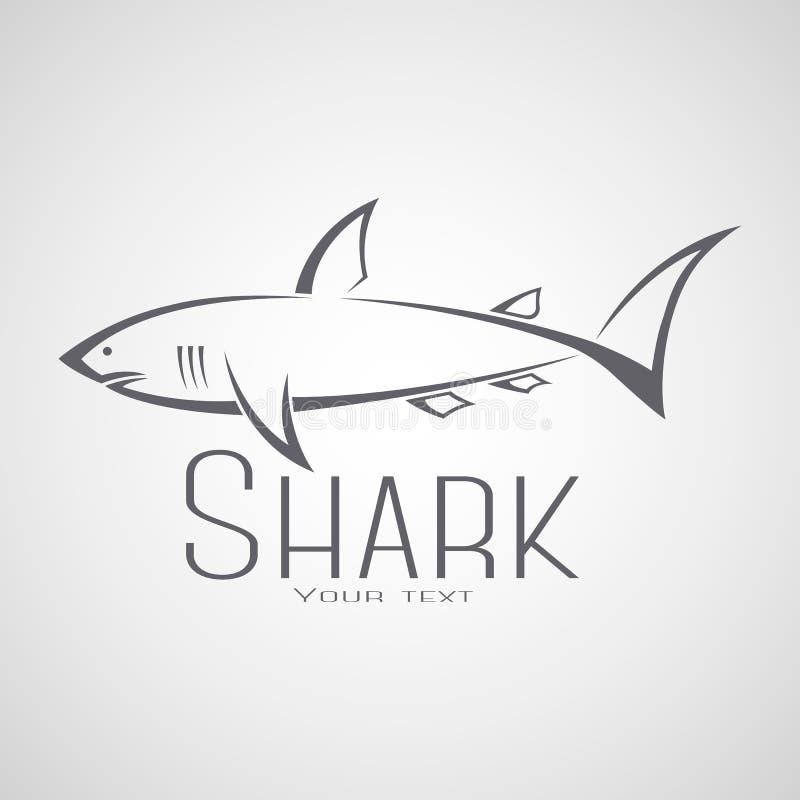 Logo dello squalo con un'iscrizione fotografia stock
