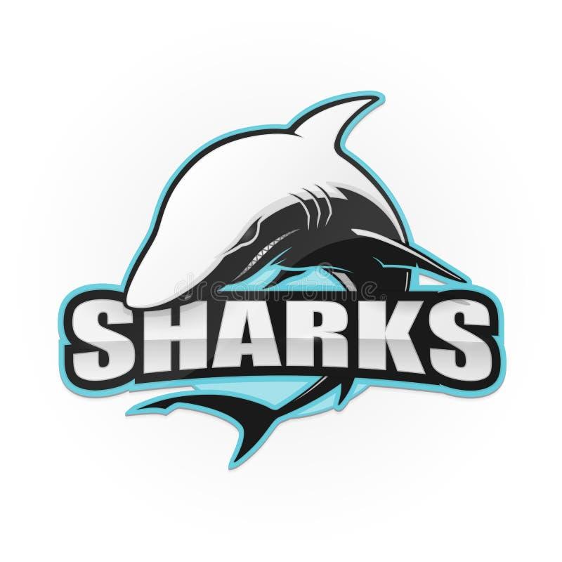 Logo dello squalo per uno sport di squadra illustrazione di stock
