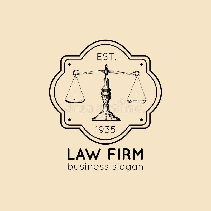 Logo dello studio legale con l'illustrazione della bilancia della giustizia Vector l'avvocato d'annata, l'etichetta dell'avvocato illustrazione di stock