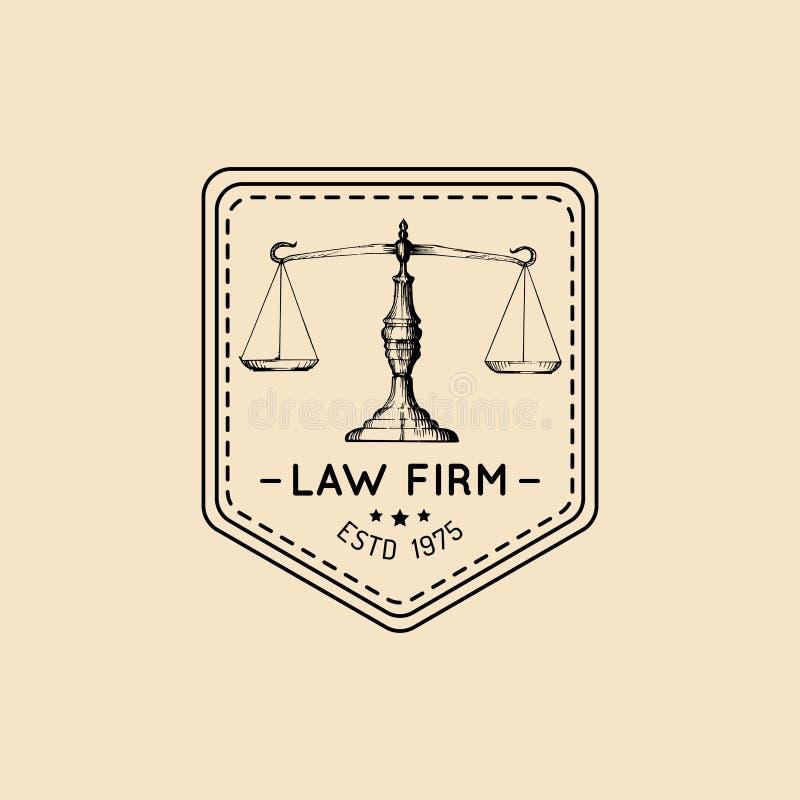 Logo dello studio legale con l'illustrazione della bilancia della giustizia Vector l'avvocato d'annata, l'etichetta dell'avvocato illustrazione vettoriale
