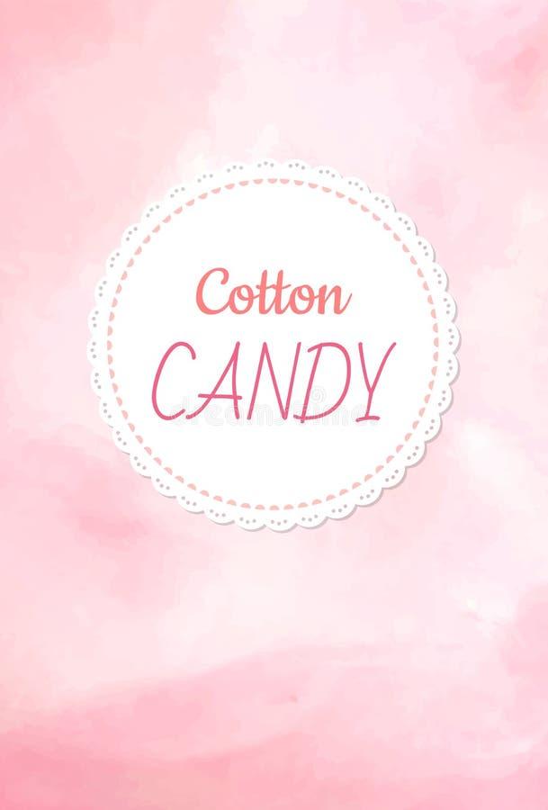 Logo dello zucchero filato, zucchero filato lanuginoso di colore rosa illustrazione vettoriale