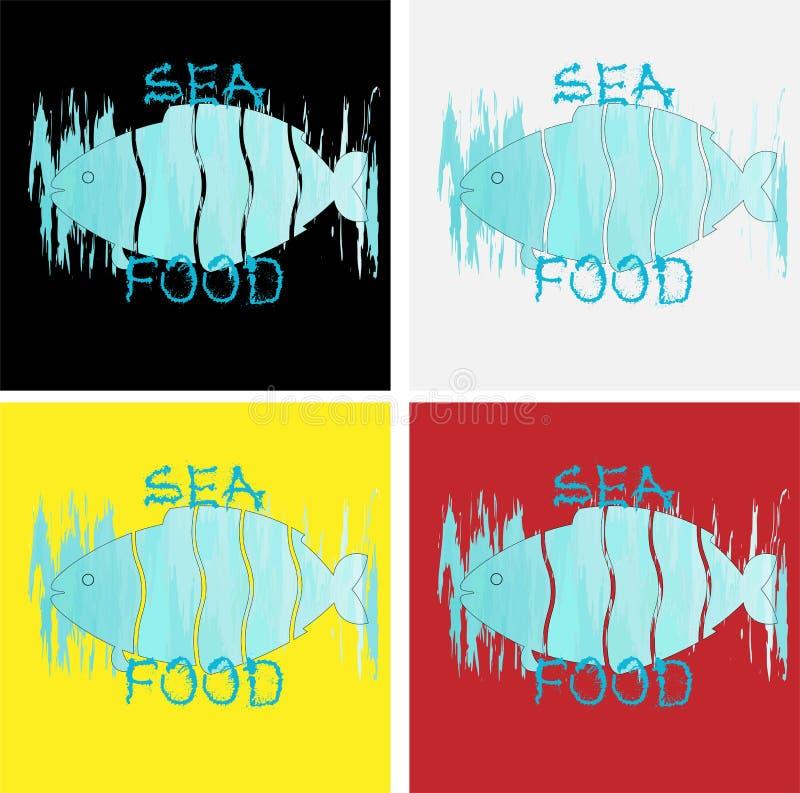 Logo denny jedzenie od cięcie ryby na tle uderzenia akwarela kolor woda morska ilustracji