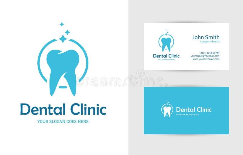 Logo dentaire de clinique avec la dent illustration libre de droits
