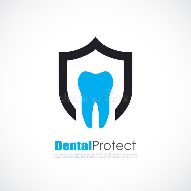Logo dentaire de vecteur de protection de dents illustration libre de droits