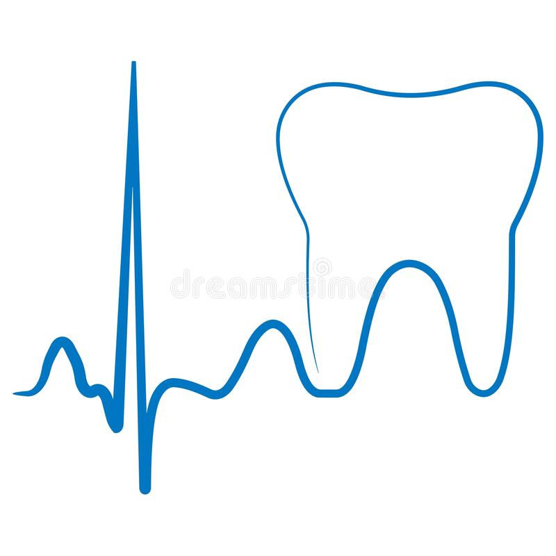 Logo for the dental clinic office, the impulse turning into a tooth molar vector illustration