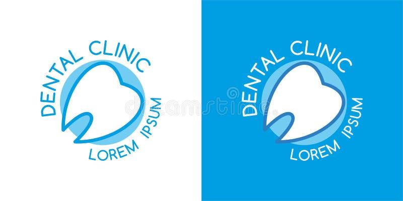 Logo dentario della clinica vettore dell'ammaccatura Logo blu i denti allineano Simbolo del dentista royalty illustrazione gratis