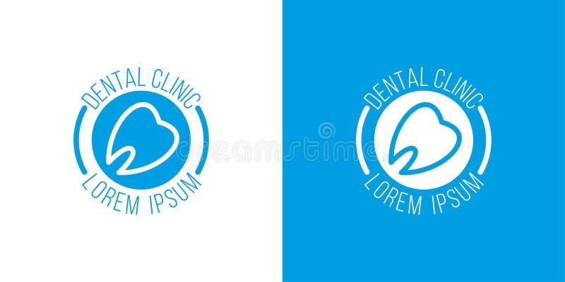 Logo dentario della clinica vettore dell'ammaccatura Logo blu i denti allineano Simbolo del dentista illustrazione di stock