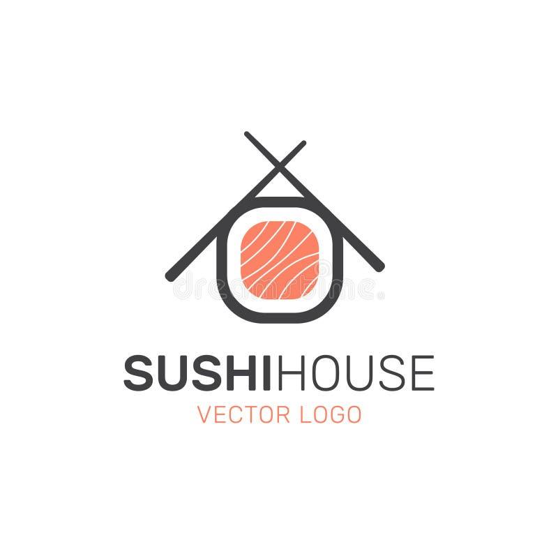 Logo der asiatischen Straßen-Schnellimbiss-Stange oder des Shops, Sushi, Maki, Onigiri Salmon Roll mit Essstäbchen stock abbildung