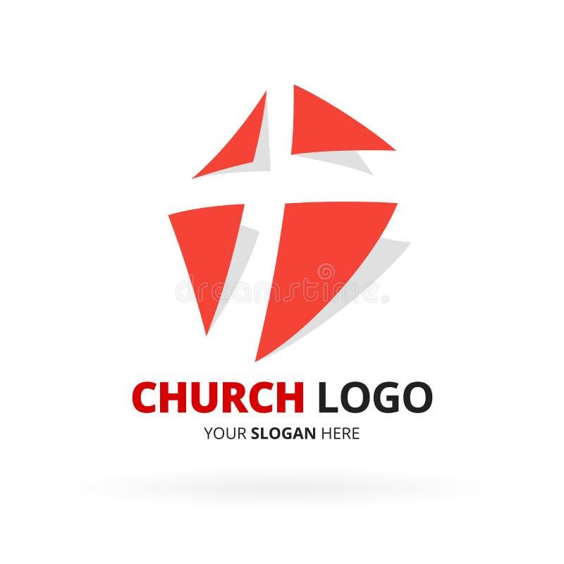 Logo der christlichen Kirche mit Ikonendesign des roten Kreuzes Vektor illustr stock abbildung