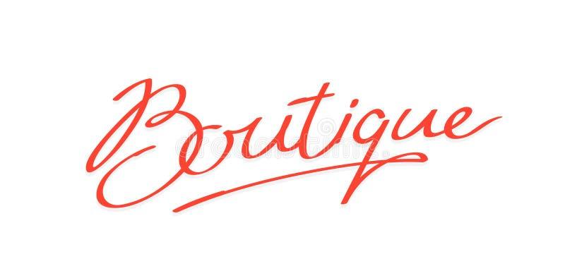 Logo der Wort Boutique Marke der Firma Logo für ein Bekleidungsgeschäft und ein Atelier Boutiquenkosmetik Frauen \ 's-Geschäft vektor abbildung