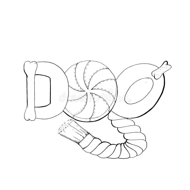 Logo des éléments de jouet de chien illustration stock