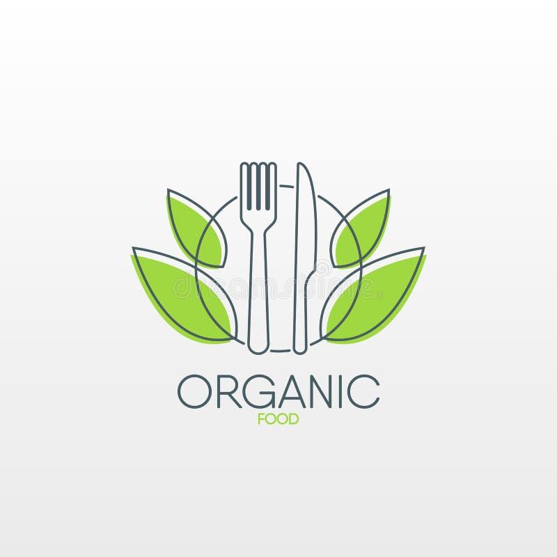 Logo des biologischen Lebensmittels Gesunde Lebensmittelikone lizenzfreie abbildung