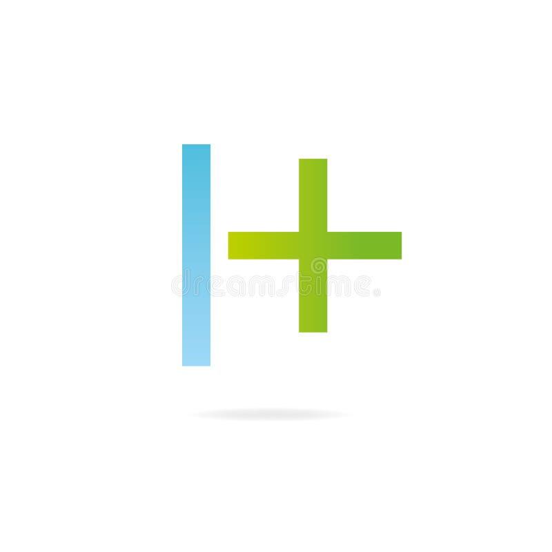 Logo des Buchstaben H Designschablonenelemente, Kreuz lizenzfreie abbildung