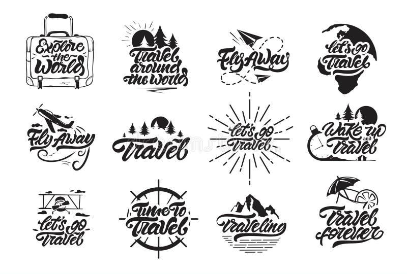Logo des ensembles de voyages en lettres. Voyagez , volez, réveillez-vous et laissez vos logos de voyage illustrés. Vecteur de l illustration de vecteur