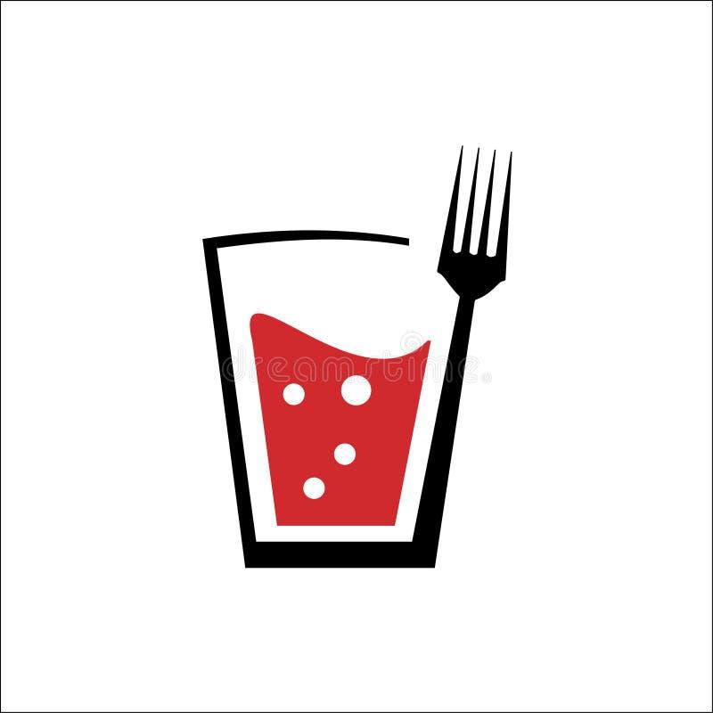 Logo des Getränks und der Gabel lizenzfreie abbildung