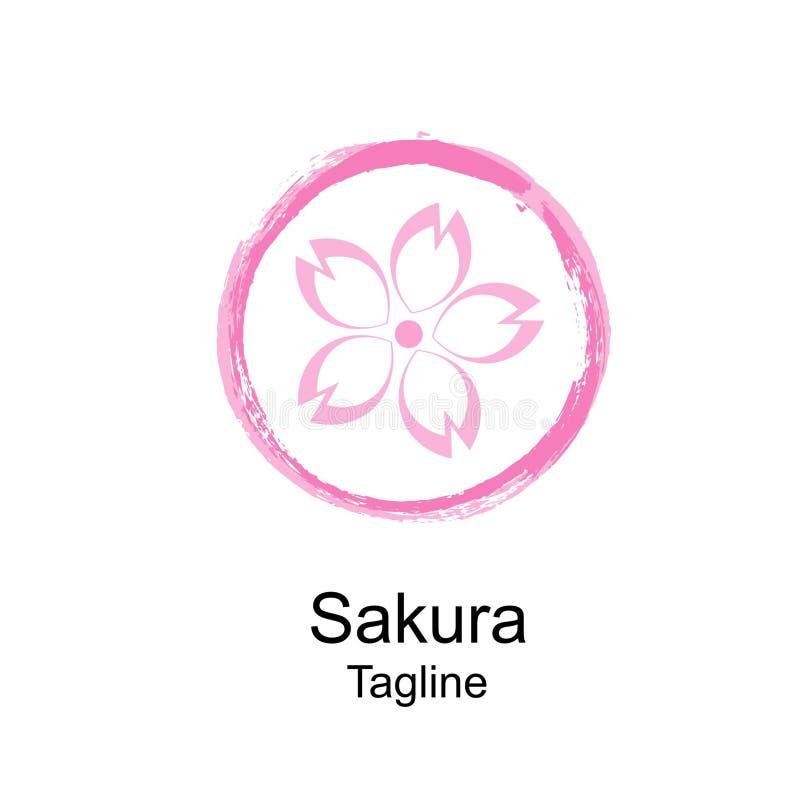 Logo des Kirschblüte-Zusammenfassungsdesigns und geometrisches lizenzfreies stockbild
